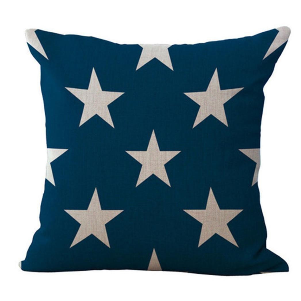 Stars and Stripes Print Pillowcase Cotton Linen Sofa Car Home Waist Fashion National Flag Cushion Cover Square Throw Pillow Case (C)