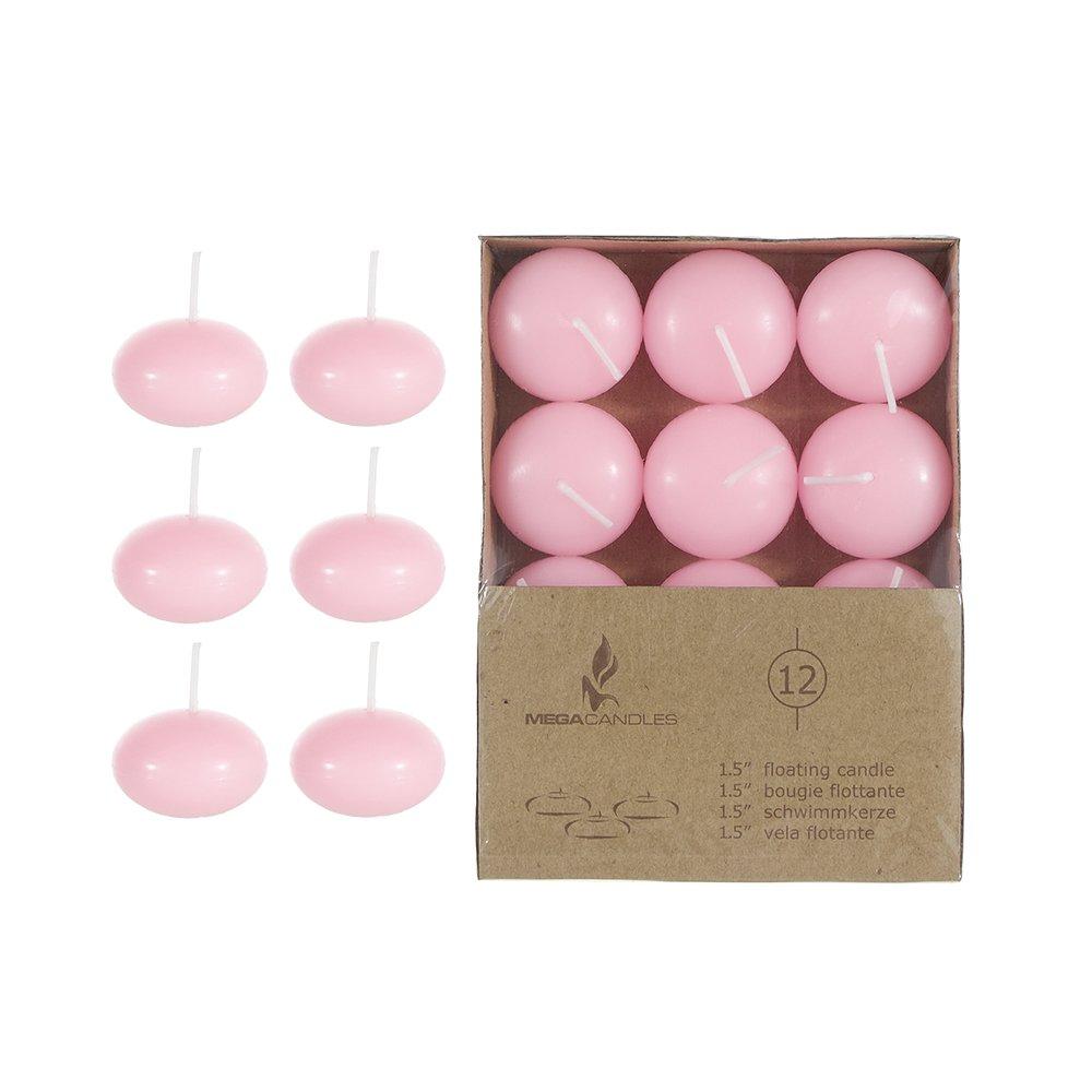 Mega Candles 12 pcs Unscented Pink Floating Disc Candle | Hand ...