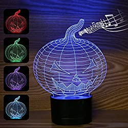 3D Night Light, Bluetooth Music Play Pumpkin Shape Decor 3D Night Lamp Kiddie Kids Children Family Halloween Gift Home Office Childrenroom Theme Decoration LED Night Light(Pumpkin)