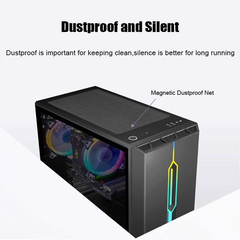 Black USB 3.0 Port Tempered Glass Window Support Water-Cooled Components MMFFYZ ATX Tower Desktop Computer Game Chassis RGB Light Bar