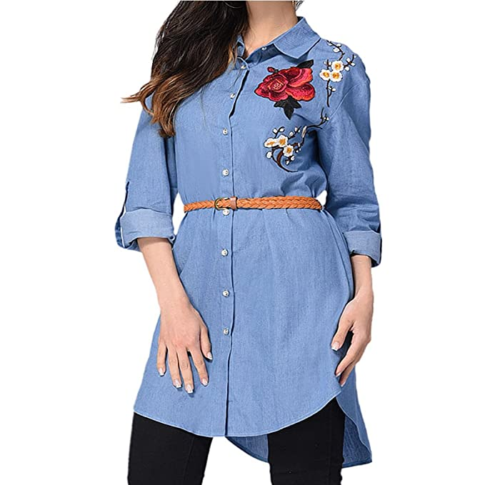 Hzjundasi Mujeres Verano Casual Manga larga Camisa Bordado Blusa de flores Capa superior Vestir: Amazon.es: Ropa y accesorios