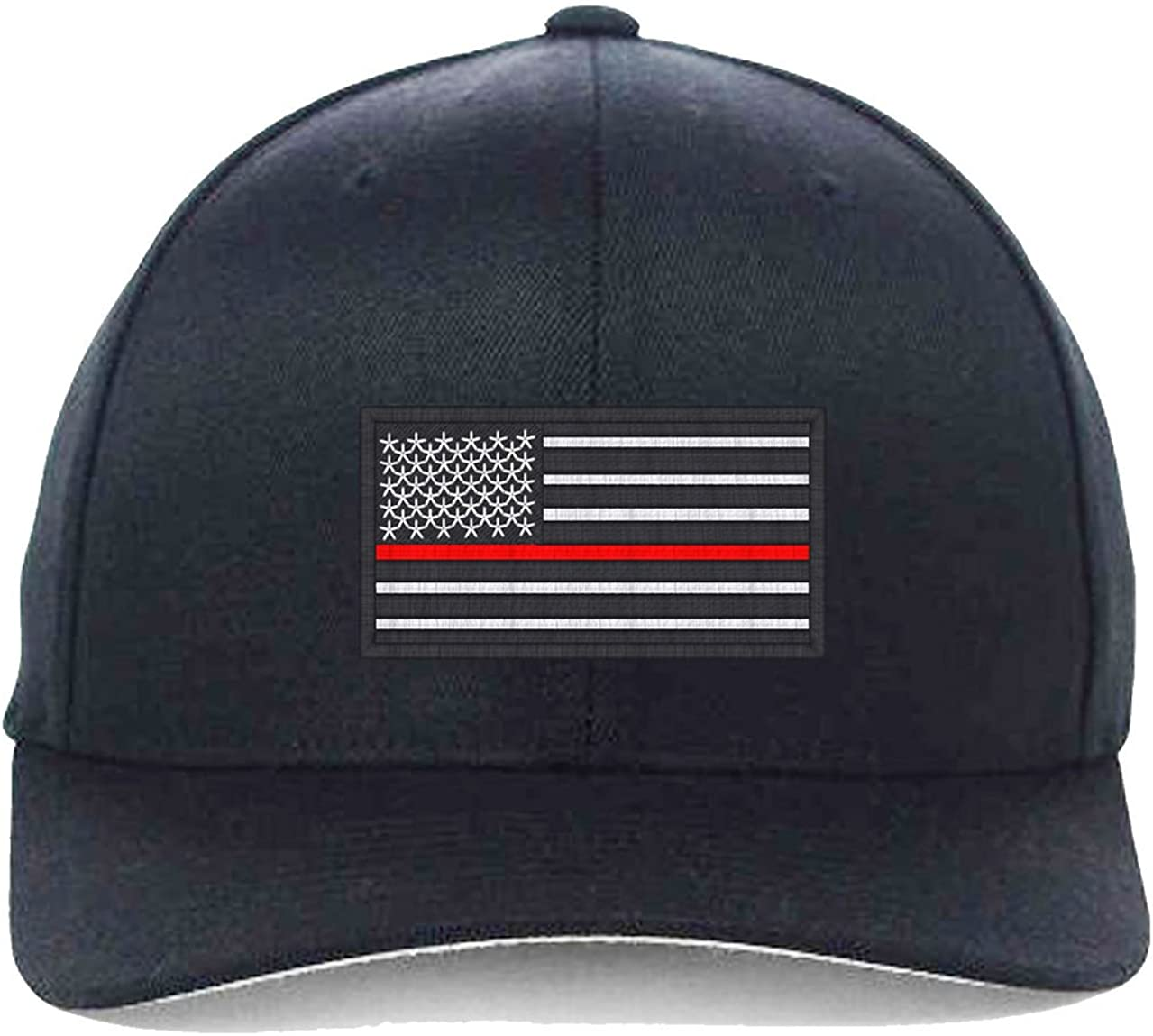 USA Flag Red Line, Local Fire Department Support Embroidered, Flexfit Hats 61hOx1ZlTOL