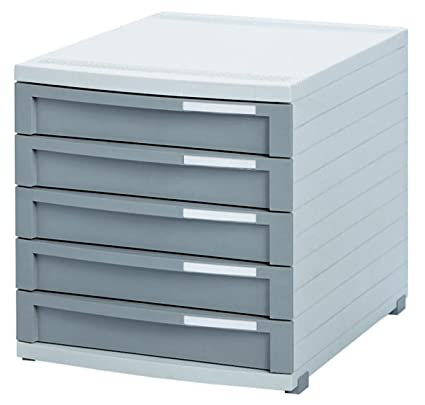 Han Contur - Unidad de almacenamiento de escritorio (5 cajones cerrados, tamaño B4), color gris claro: Amazon.es: Oficina y papelería