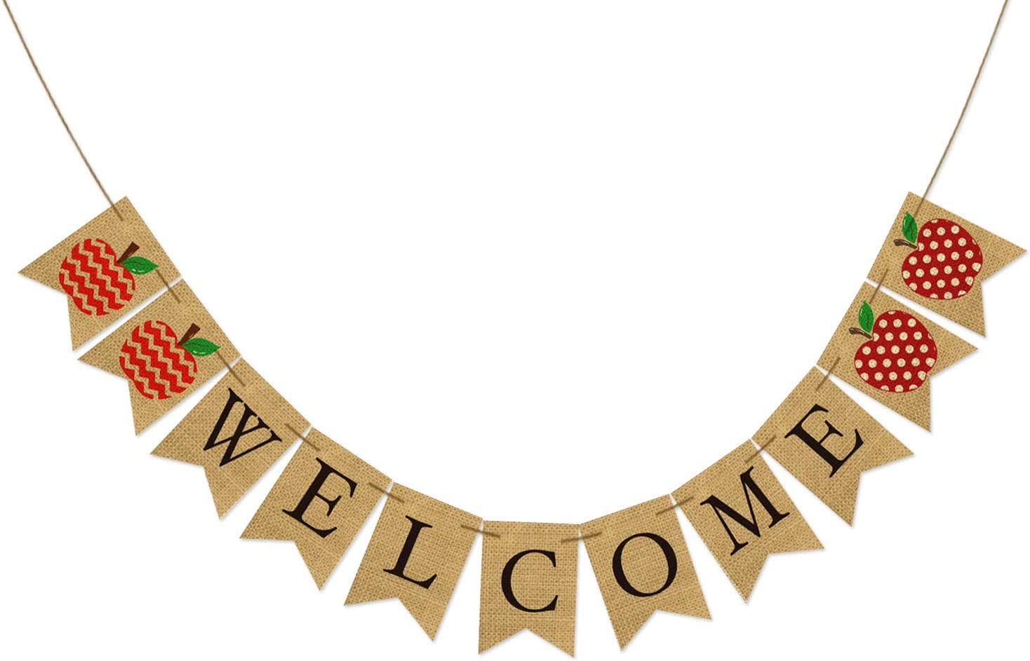 AVOIN Welcome Banner Chevron Polka Dot Apple, Rustic Pennant Decoration for Back to School First Day of School Teacher Appreciation Party Supplies Classroom Decor - No DIY Required