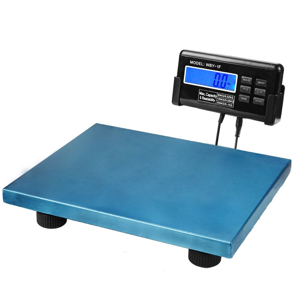 Digital Shipping Scale Blue Platform Postal Parcels Weigh for Vet Veterinary Animal Pet Dog Cat Livestock Weight 440Lbs 200KG Capacity with LCD Backlight and AC Adapter by Flexzion