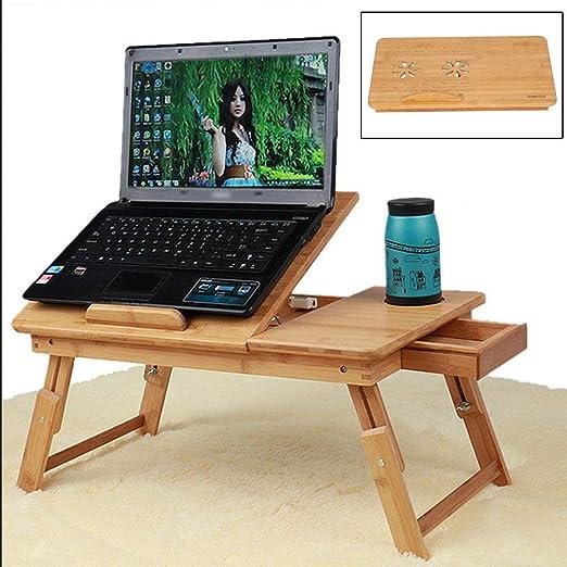 EBTOOLS Mesa de Cama para Ordenador portátil PC de bambú con ...