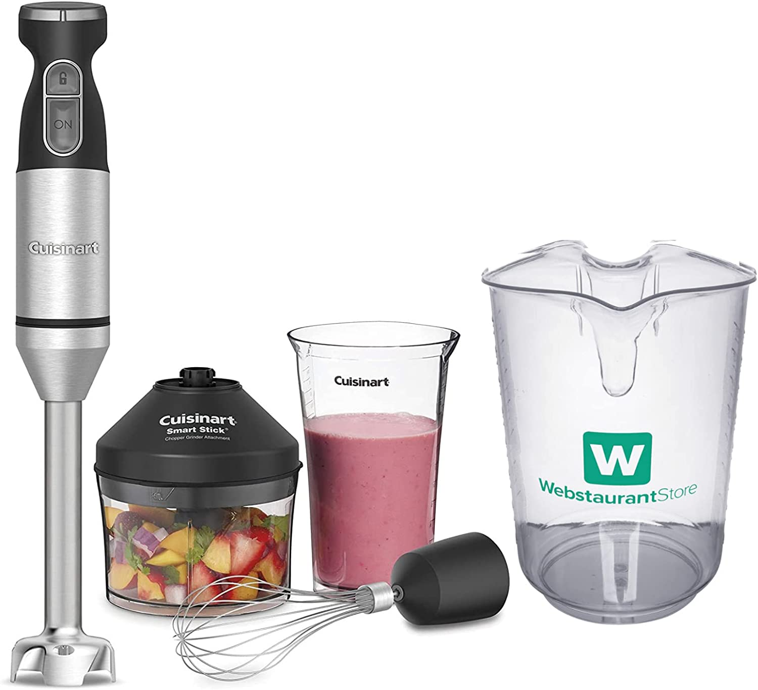 Cuisinart CSB-179 Stainless Steel Smart Stick Variable-Speed Hand Blender with 4 Qt. (16 Cups) Polycarbonate Measuring Cup Bundle (2 Items)