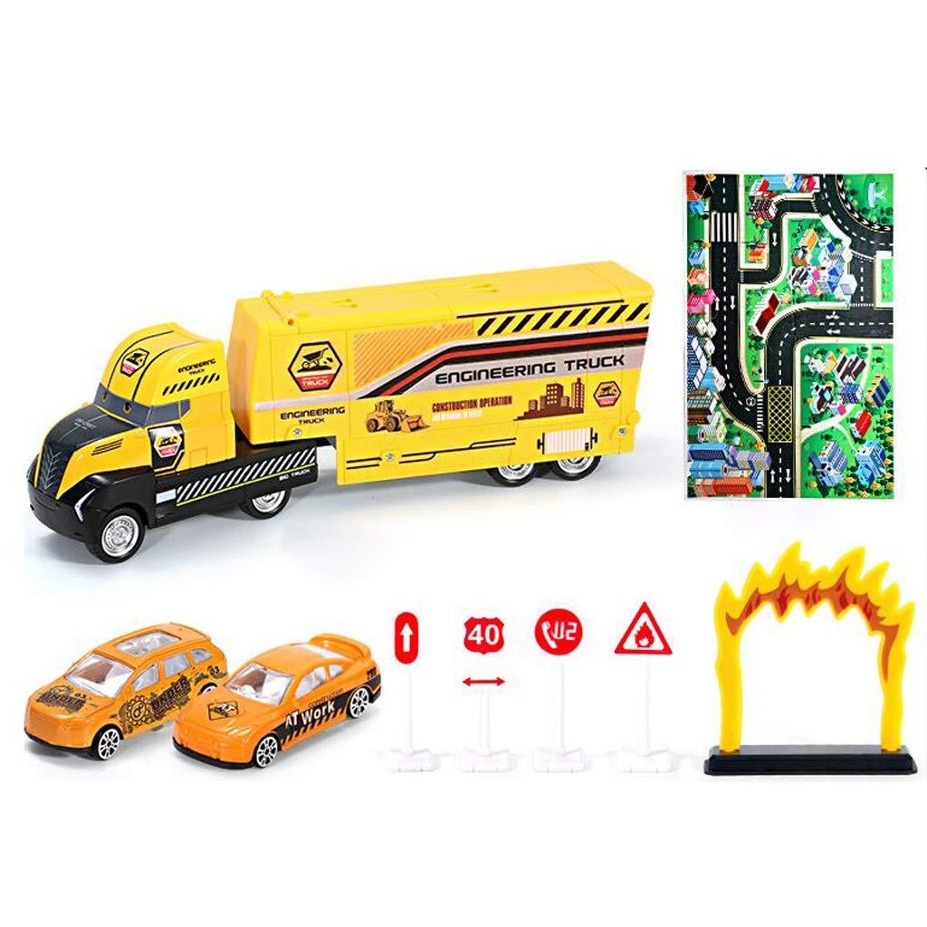 Siyushop Vehículo Juego de Juguetes para automóviles, camión de construcción, camión transportador, camión de Transporte de contenedores de vehículos de construcción, niño (Color : 2)