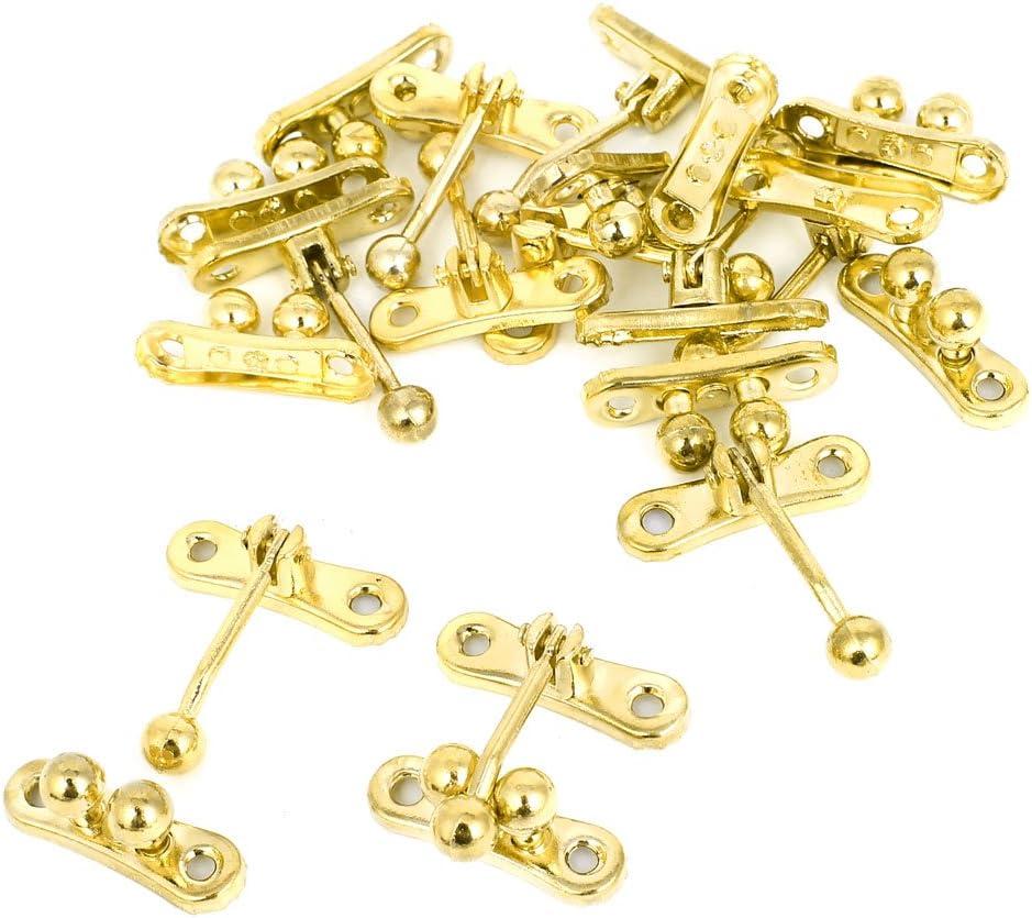 Case Box Lock Retro 3 Balls Hook Hasp Toggle Latch Gold Tone 10pcs