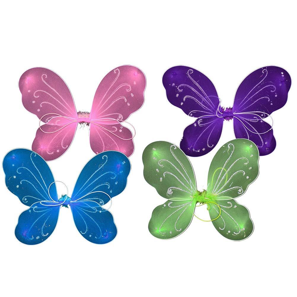 Pink, Green, Purple, Blue Toyvian 4pcs Kids Fairy Butterfly Wings Costume Girls Fairy Angel Wings Fancy Dress Party Favor