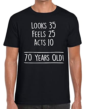 e60be9c54 TeeDemon 70th Birthday - Math Joke - 70 Years Old - Funny - Mens Shirts -