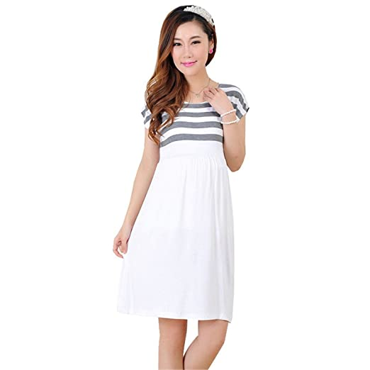 KDHJJOLY Comfortable Stripe Cotton Maternity Clothes Dresses For Pregnant Women Pregnancy Clothing Casual Short Sleeve Vestido Gestante Ropa Maternal ...