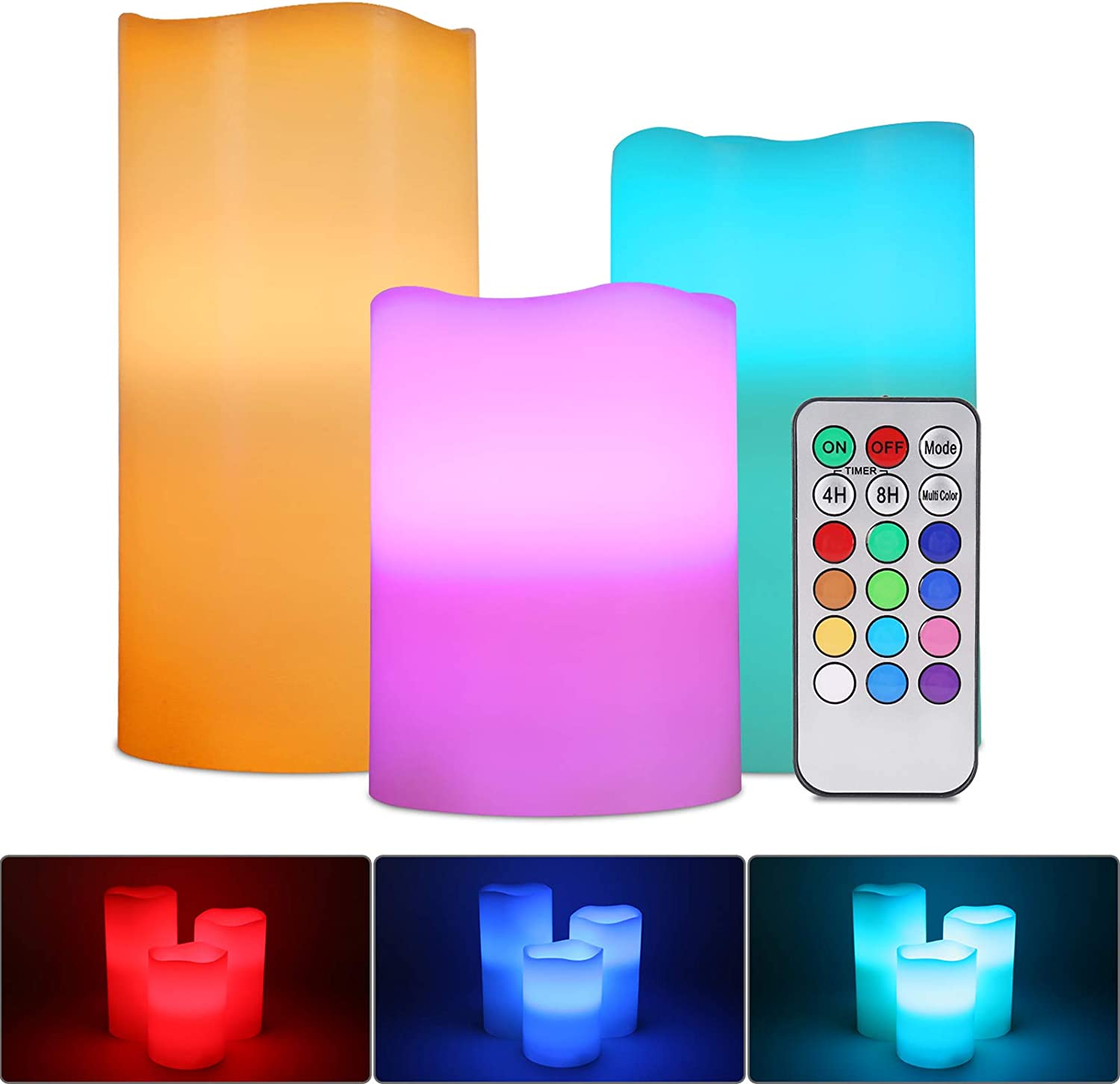 RGB Flameless Candles Light, ALED LIGHT 3 Pack Multicolor Real Wax Tea Lights Battery Operated Pillar Candles Electric LED Flickering Candle Lights with Remote Control Timer for Decoration, Wedding