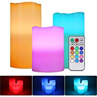 Flameless LED Candles, ALED LIGHT Pack of 3 RGB Multicolored Electric Candles Real Wax Lights Candles Electric Batteries…