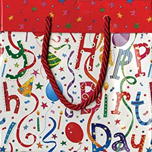 Entertaining with Caspari Happy Birthday Paper Gift Bag, Small, 1-Count