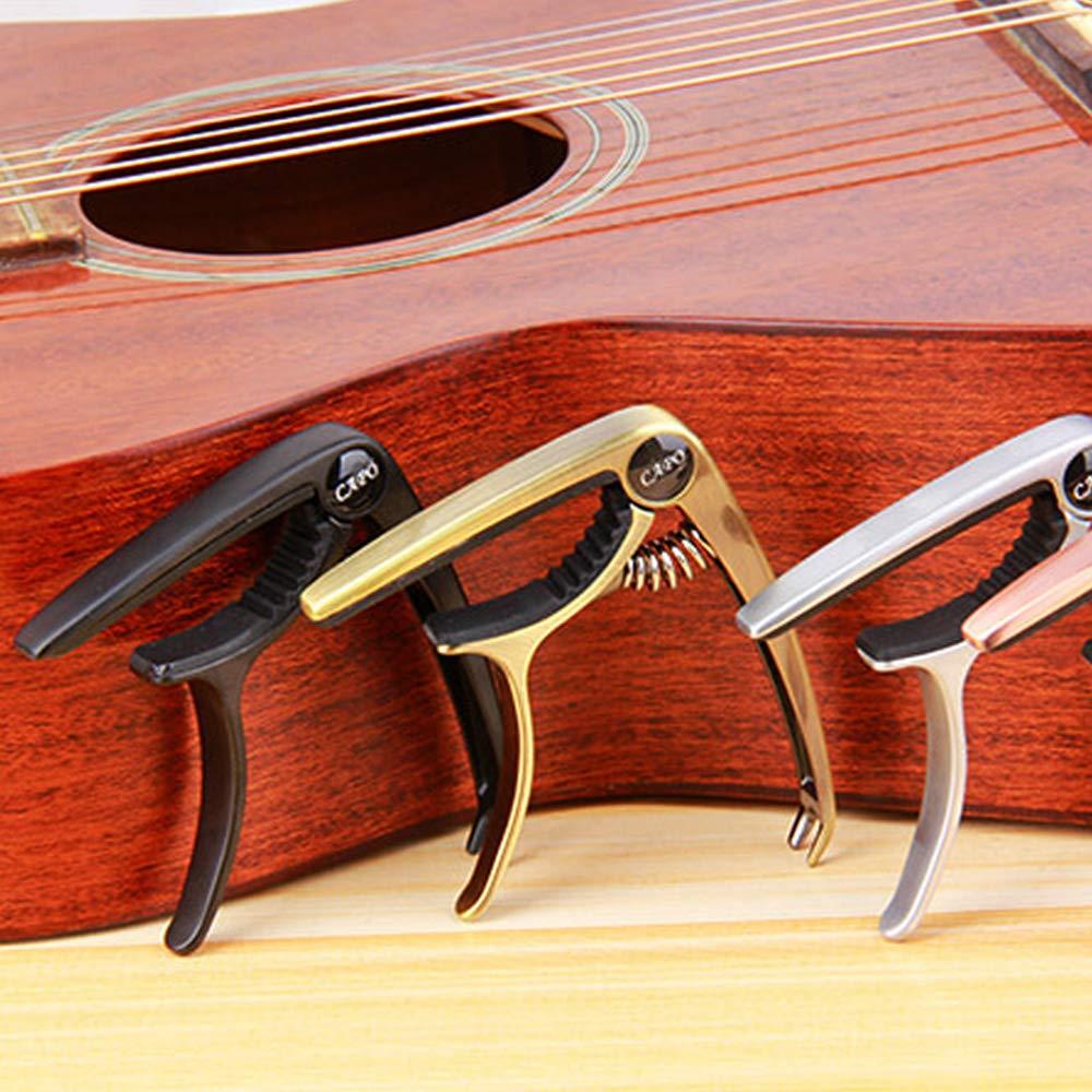 Cejilla para Guitarra Capo de Guitarra Cejilla para Guitarras Acusticas y Electricas Pinza de una Mano para un Agarre Constante Negro Estilo3-Negro