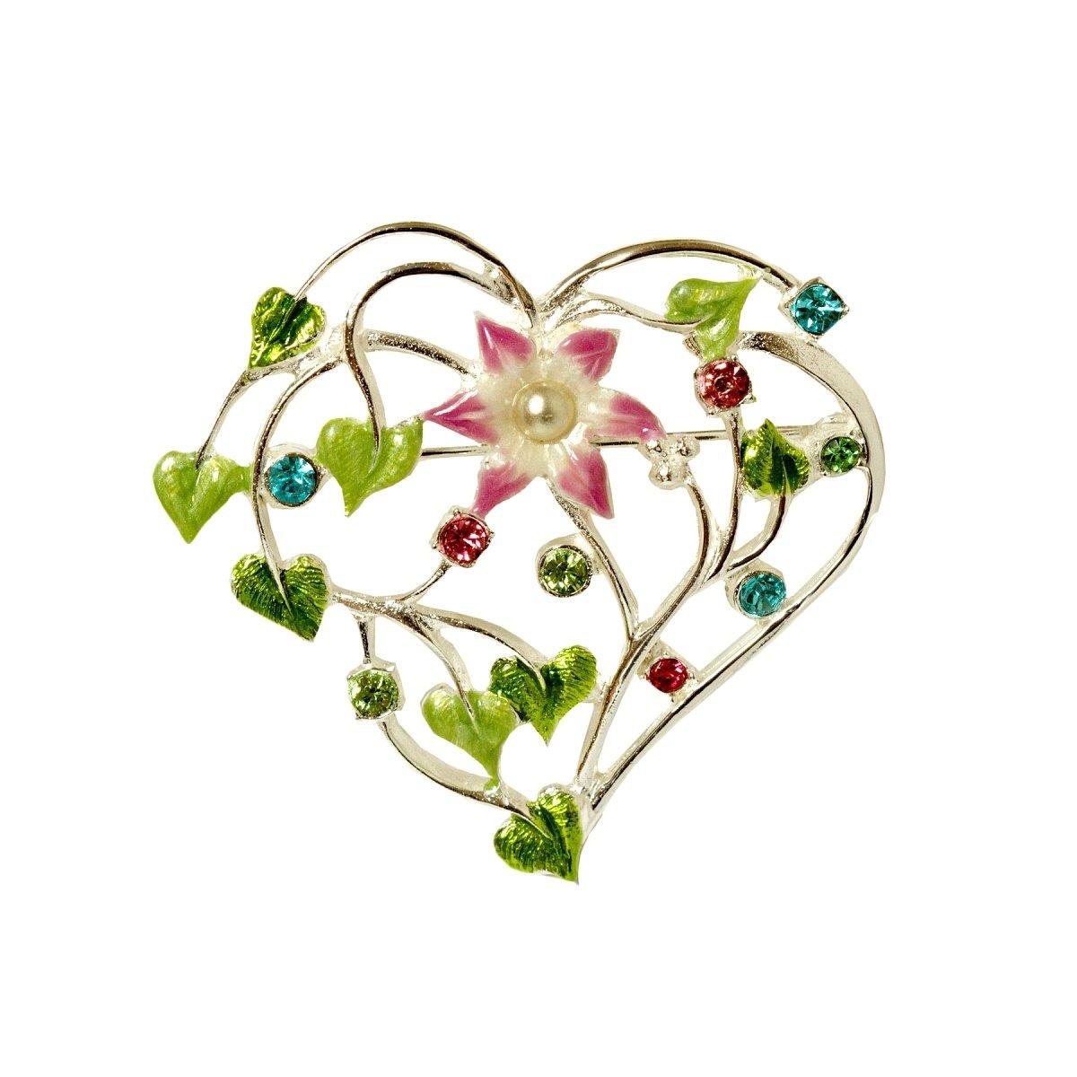 Bijou Art Brosche-Damen Herz Floral Emaille Kristalle Pastellfarben Anstecknadel Versilbert Filigran Bijou and Art München