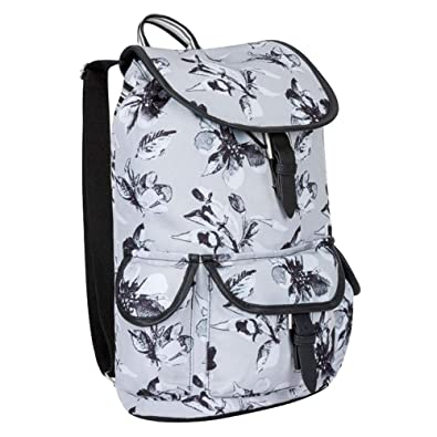 6e6bd25ff Miso Womens Printed Design Pockets Canvas Backpack Bag Accessories (N, Grey  Floral)