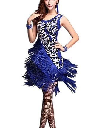 fe8a68cd65fd 1920 Art Deco Halloween Charleston Gatsby Period Dance Dresses Costume Club  Blue