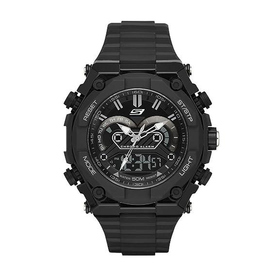 c82402e4a75e Skechers SR1042 Reloj Análogo Digital Multifunción para Hombre Extensible  de Silicon