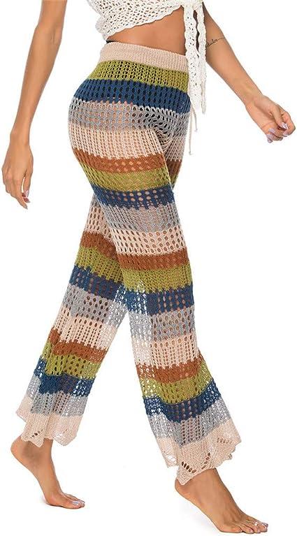 Women Hollow Out Pants Wide Leg Beach Pants Drawstring Waist Palazzo Pants Boho Tassels Lounge Trousers