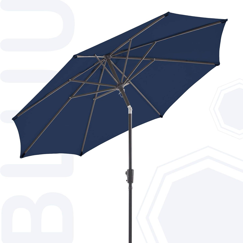 BLUU Olefin 10 FT Patio Market Umbrella Outdoor Table Umbrellas, 3-year Nonfading Olefin Canopy, Market Center Umbrellas with 8 Strudy Ribs & Push Button Tilt for Garden, Lawn & Pool (Navy Blue)