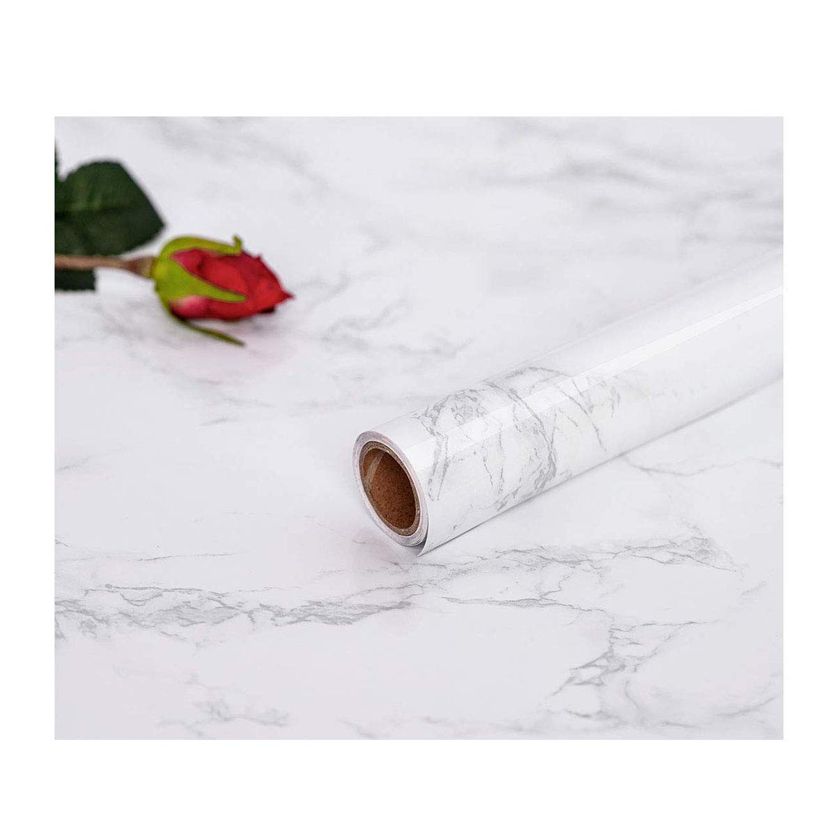 17.71X 79 Marble Contact Film Granite Look Effect Contact Paper Decorative Self-Adhesive Film Marble Gloss Vinyl Film Contact Paper for Furniture Abyssaly