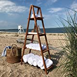Whole House Worlds A-Frame Folding Rack, Sedona Spa Hotel Style, Shelf, Bookcase, Plant Stand, And More, Sustainable Wood, Approx. 5 Ft Tall, 4 Tier Shelves, Natural Finish, Rustic Ladder Style, By