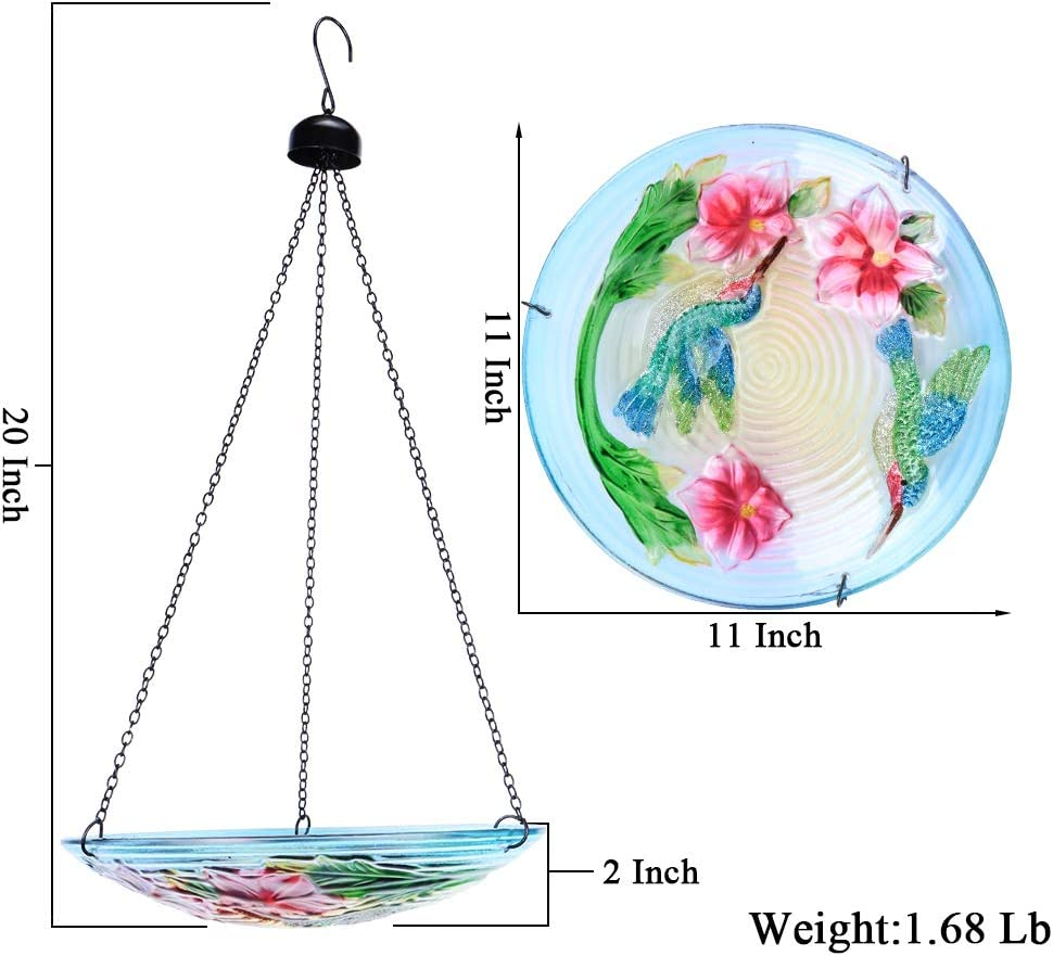 MUMTOP Hanging Bird Bath Glass Bird Bath Sunflower Print with Water Ripple Rim 11 Inch