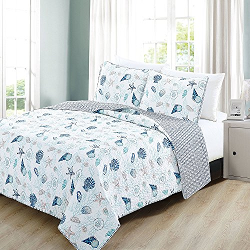 3pc Blue White Seashells Themed Quilt Full Queen Set, Coastal Bedding Beach Ocean Sea Shells Starfish Corals Pink Hawaii Tropical Sealife, Stripes Cotton Polyester by Unknown