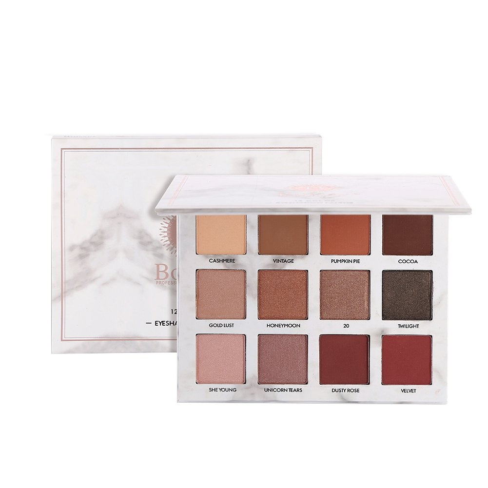 12 Colors Marble Eyeshadow Palette Waterproof,ROMANTIC BEAR Shimmer Matte Mixed Eye Shadow Pallet Kit With Mirror (A)