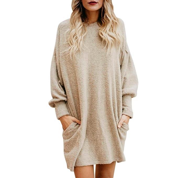 Suéter Mujer, ❤️Xinan Blusa de Mujer de Moda Suéter Largo con Bolsillo o Cuello