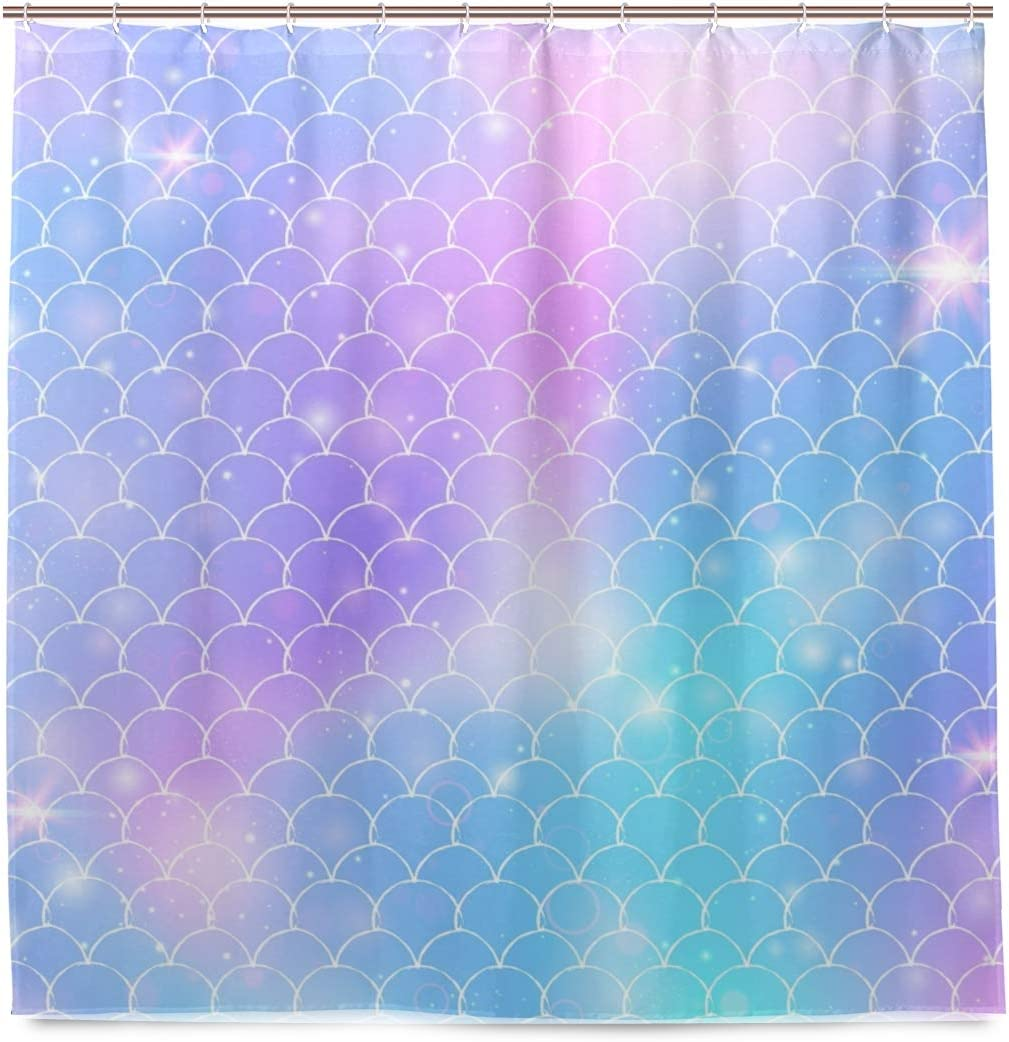 Blue Viper Magic Fantasy Mermaid Scales Home Decorations Shower Curtain 72 x 72 inch Waterproof Polyester for Bathroom Shower Curtain Set with Hooks