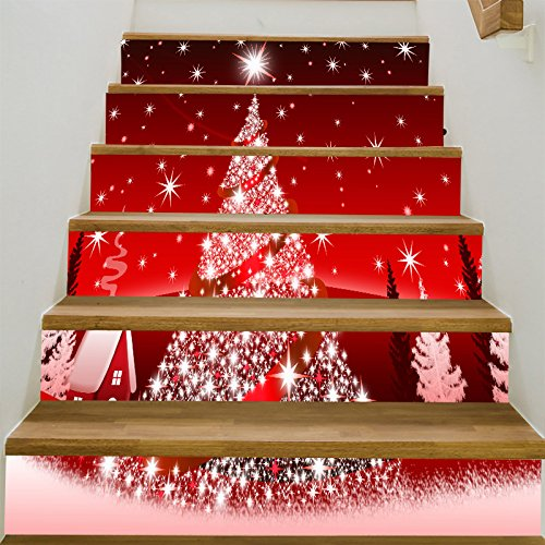 zhiyu&art decor Christmas 3D Stair Risers Stickers Decals-6Pcs/Set Christmas Tree Stair Stickers Decals Removable Staircase Decals Waterproof Wall Stickers for Stairs Decoration