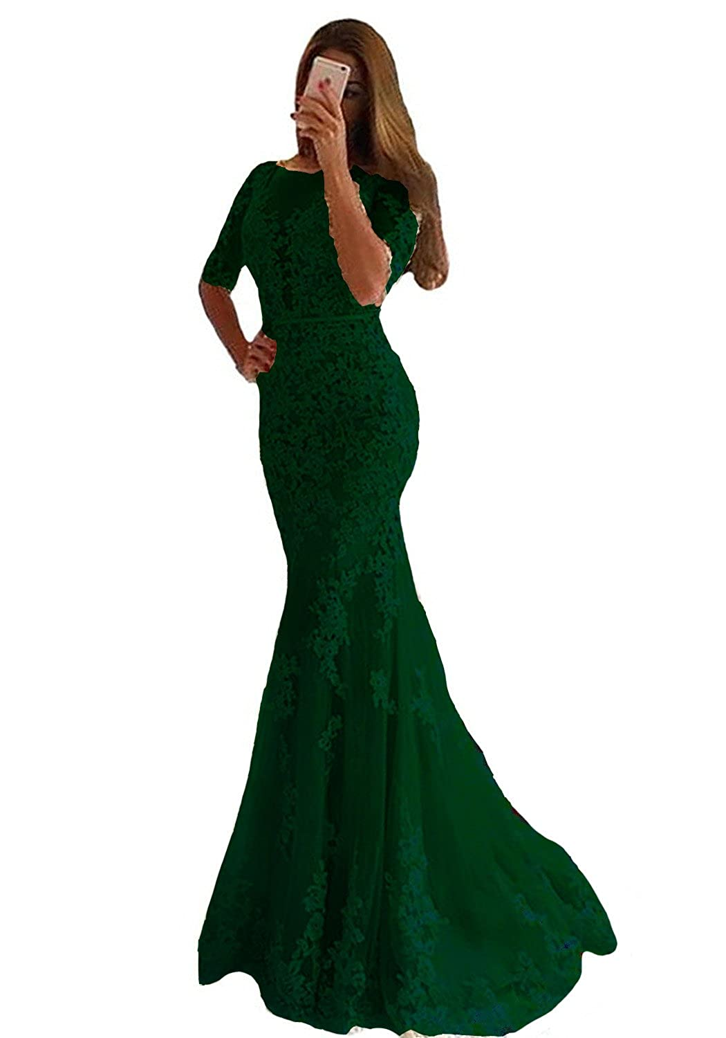 Emerald Green Lemai Women Mermaid Long Lace Half Sleeves Formal Prom Dresses Evening Gowns
