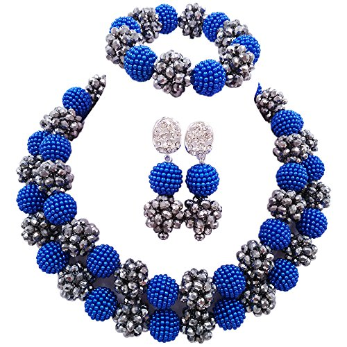 laanc 2Rows Blue and Silver African Beads Jewelry Set,African Costume Jewelry Set A0346M (Blue and Silver)