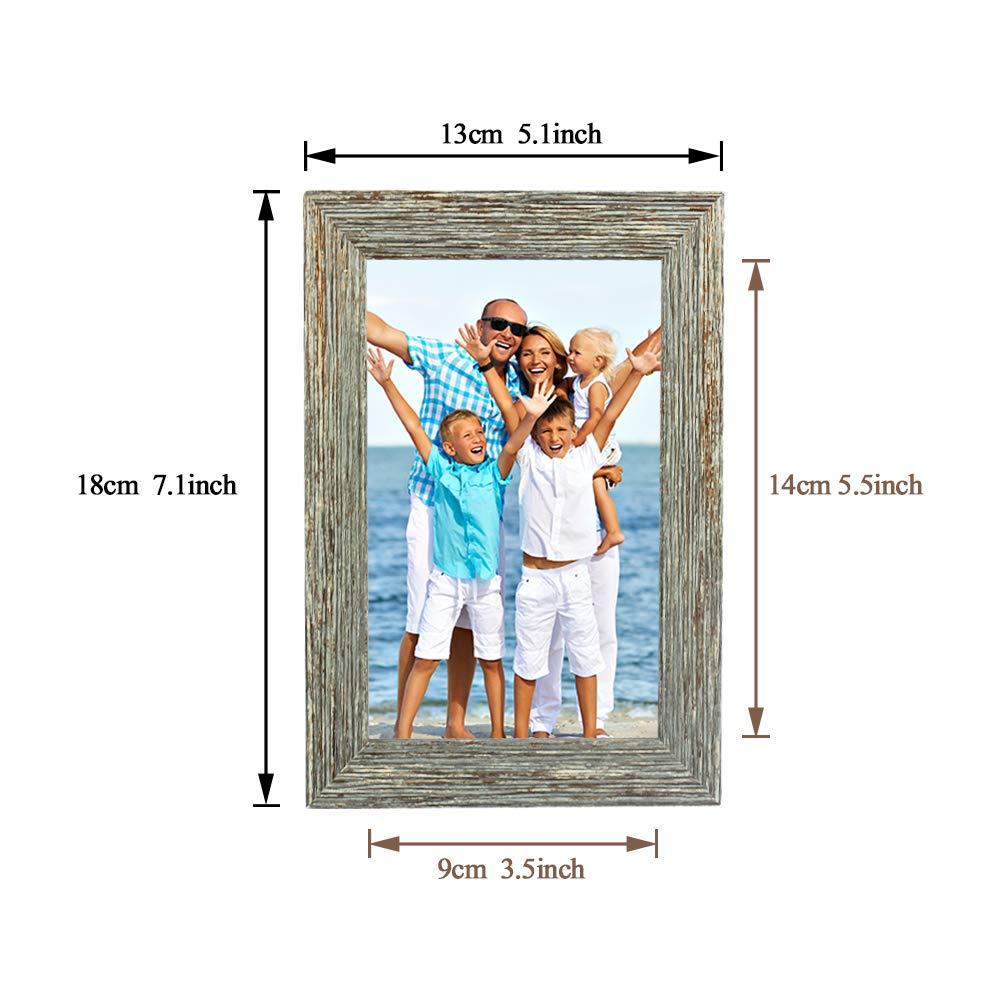 Wskderliner 2er Set 9 x 14 cm (3.5x5.5 Inch) Bilderrahmen Shabby chic Vintage Barock antik Landhausstil Nostalgie Aufsteller Portraitrahmen Fotorahmen Einzelrahmen Creamy-White and Gray