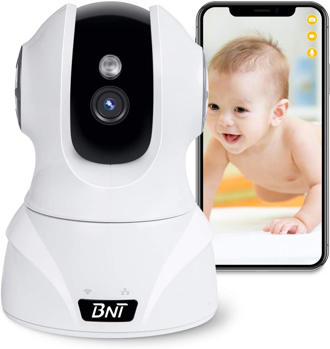 Security Camera WiFi IP Camera, BNT HD 1080P Home Wireless Baby Pet Camera with Cloud Storage Two-Way Audio Motion Detection Night Vision Remote Monitoring, Work With Alexa