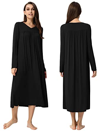 ae92d6ff45 Zexxxy Nightgowns for Women Long Sleeve Sleepshirt Soft Full Length  Sleepwear Black S