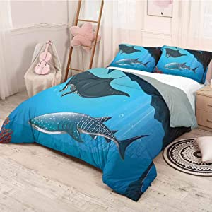 Shark Bedding Sets Queen, Soft Microfiber Bed Sheets Shark Deep Water Stingray with Coral Reefs Algae Rocky Cave Exotic Cartoon Style Art Easy Care Blue Grey