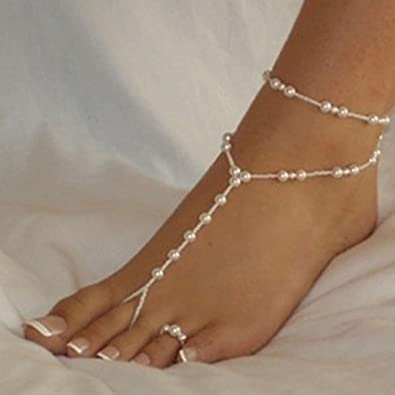 470dcc1f3e7 Image Unavailable. Image not available for. Color  Creazy® Womens Foot  Jewelry Anklet Chain Beach Imitation Pearl Barefoot Sandal