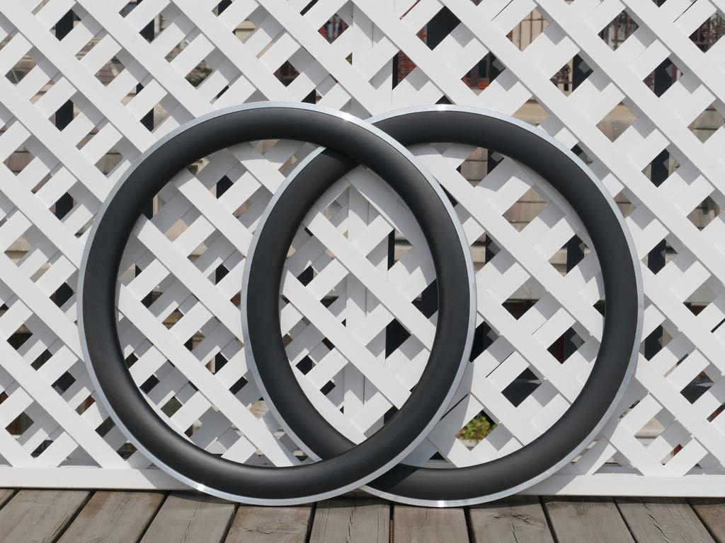 flyxii 幅23mm U字型 60mm サイクリングホイールリム 3K カーボンマットバイク クリンチャーリム 700C カーボンロード自転車リム 60mm (20、24穴) 合金ブレーキサイド   B07PDMNSGM