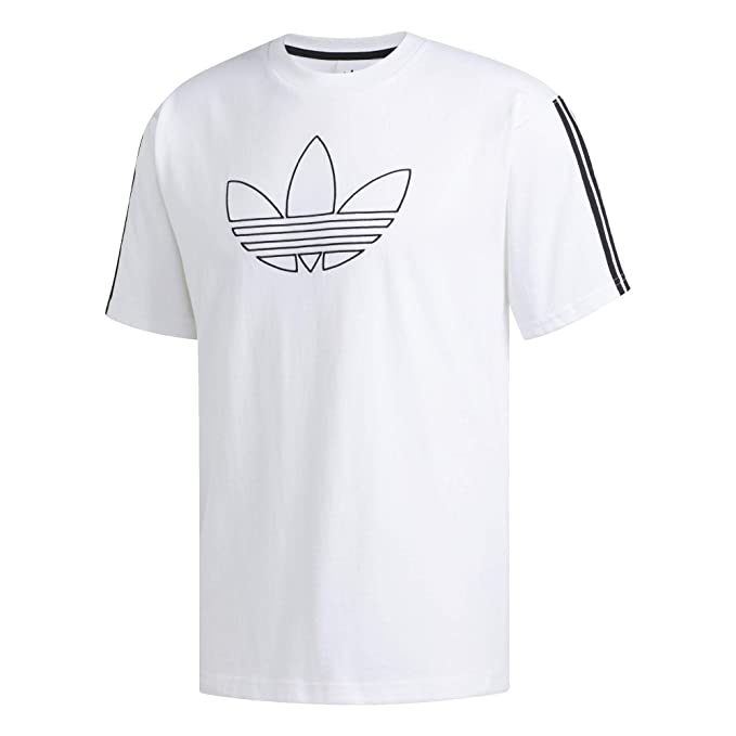 adidas Originals Men's Outline Trefoil Tee, White, Medium