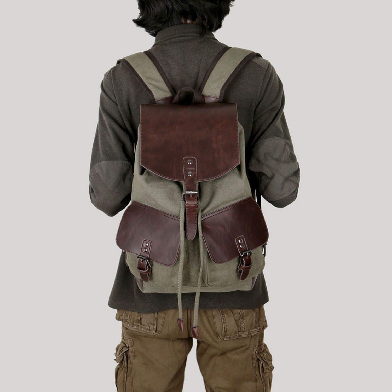 Men Rucksack Casual Coffee Retro Travel Shoulder Bags Pack,Khaki,1 and 14 AH 43
