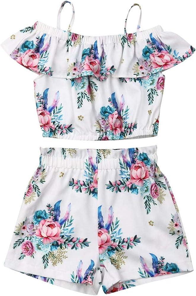 Baby Girls Kids Floral Sling Ruffled Outfit Off-Shoulder Top Shorts 2PCS Set