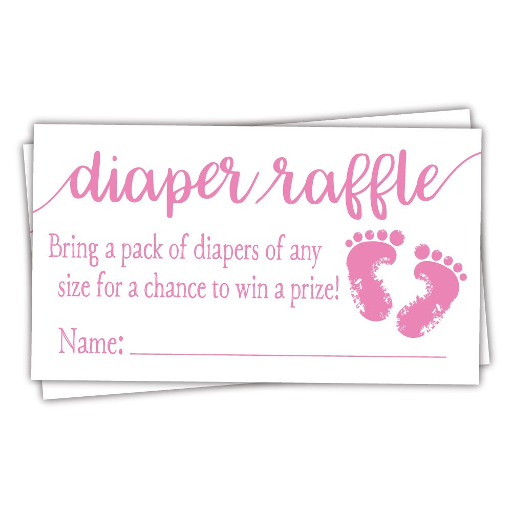 50 Pink Baby Feet Diaper Raffle Tickets - Girl Baby Shower Game