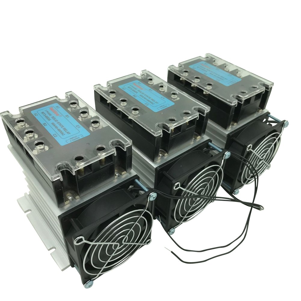 3pcs Twidec MT3-60DA 60A 3-32V DC/40-480V AC Three Phase SSR Solid State Relay+ Heat Sink+ Fan by twidec