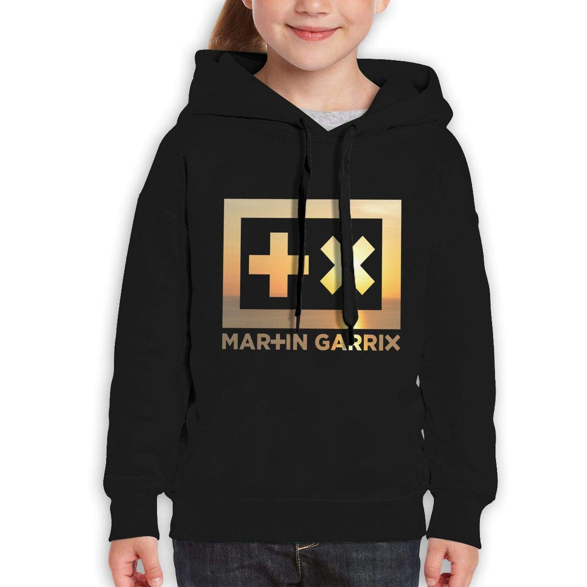 MUPTQWIU Teen Girls Martin Garrix Logo Casual Style Climbing Black Hoody