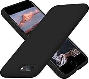 Cordking iPhone 8 Plus Cases, iPhone 7 Plus Cases, Silicone Ultra Slim Shockproof Phone Case with [Soft Anti-Scratch Microfiber Lining], 5.5 inch, Black
