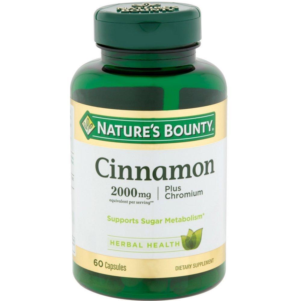 Nature's Bounty Cinnamon 2000mg Plus Chromium, Dietary Supplement Capsules 60 ea (Pack of 12)